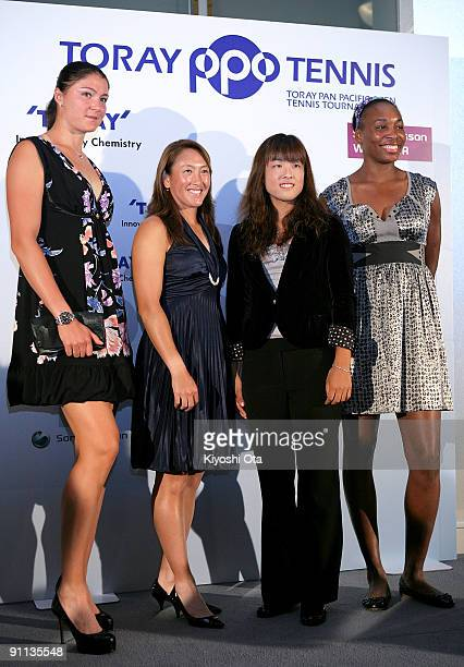 Dinara Safina of Russia Ai Sugiyama of Japan Ayumi Morita of Japan and Venus Williams of the USA pose during a press conference for the Toray Pan...