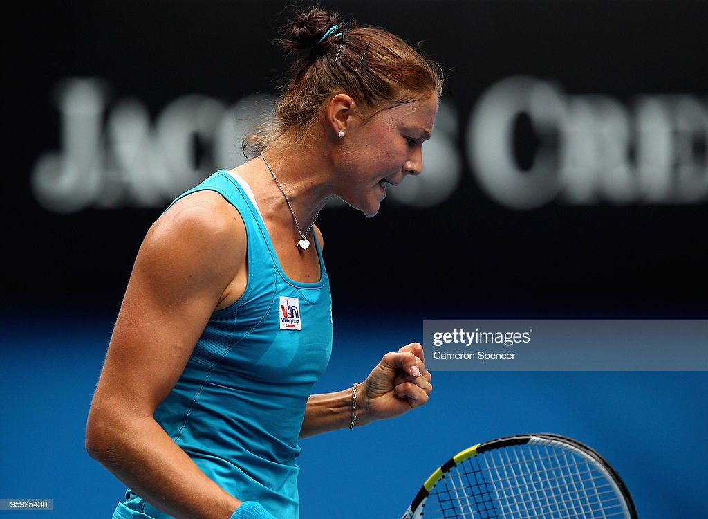 <a gi-track='captionPersonalityLinkClicked' href=/galleries/search?phrase=Dinara+Safina&family=editorial&specificpeople=220796 ng-click='$event.stopPropagation()'>Dinara Safina</a> of Russia celebrates winning a point in her third round match against Elena Baltacha of Great Britain during day five of the 2010 Australian Open at Melbourne Park on January 22, 2010 in Melbourne, Australia.