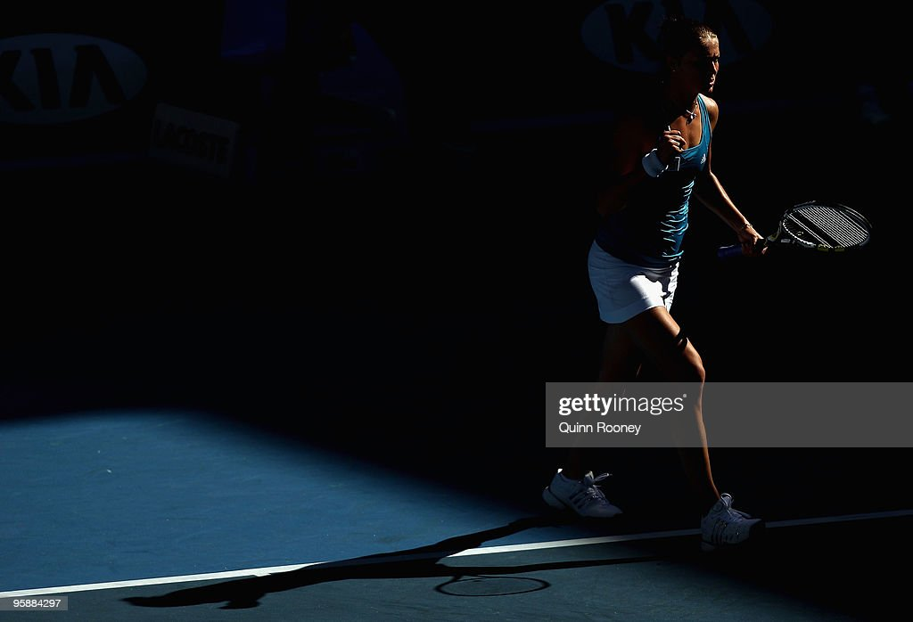Dinara Safina of Russia celebrates winning match point in her second round match against Barbora Zahlavova Strycova of the Czech Republic during day...