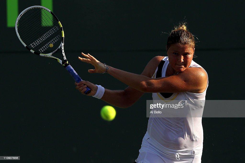Dinara Safina of Russia follow through on a return against Vera Zvonareva of Russia during the Sony Ericsson Open at Crandon Park Tennis Center on...