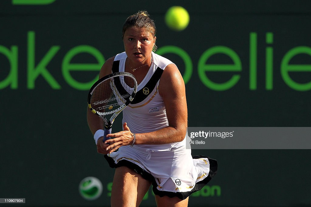 Dinara Safina of Russia in action against Vera Zvonareva of Russia during the Sony Ericsson Open at Crandon Park Tennis Center on March 25 2011 in...