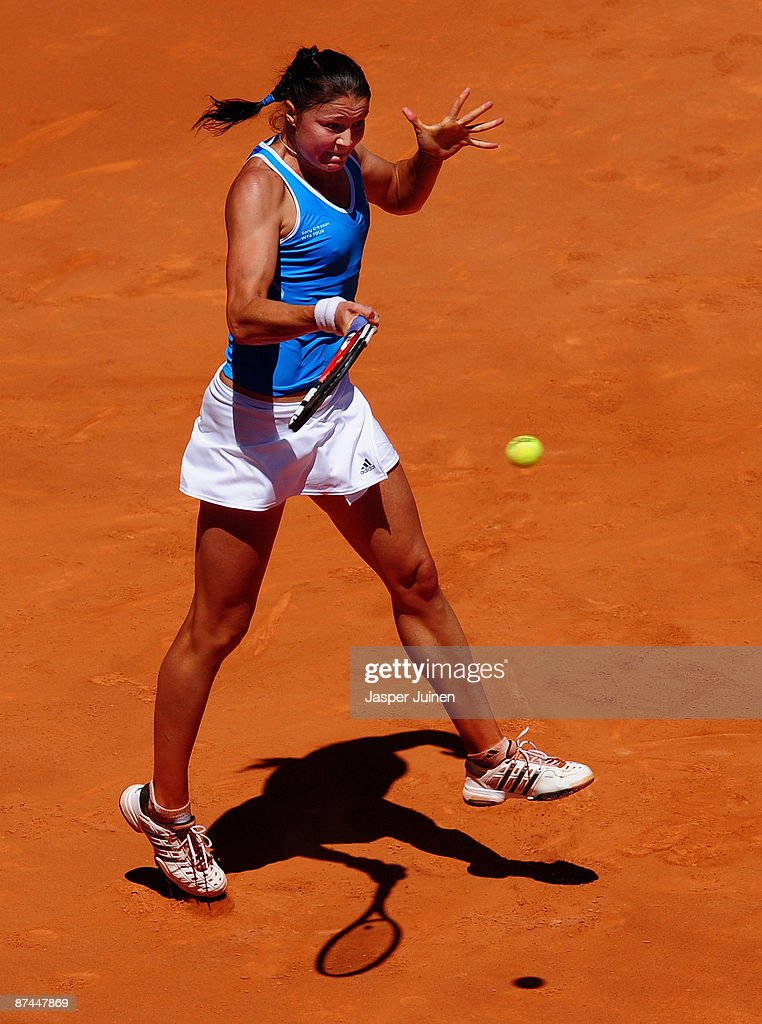 Dinara Safina of Russia jumps to play a forehand to Caroline Wozniacki of Denmark during the Madrid Open tennis tournament at the Caja Magica on May 17, 2009 in Madrid, Spain. Safina won the match in two sets, 6-2 and 6-4.