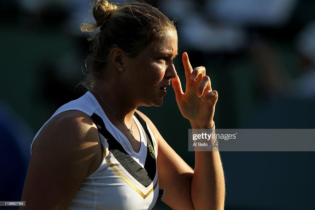 Dinara Safina of Russia looks on against Vera Zvonareva of Russia during the Sony Ericsson Open at Crandon Park Tennis Center on March 25 2011 in Key...