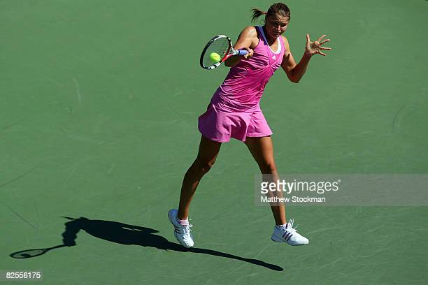Dinara Safina of Russia returns a shot against Kristie Ahn of the United States during Day 2 of the 2008 US Open at the USTA Billie Jean King...