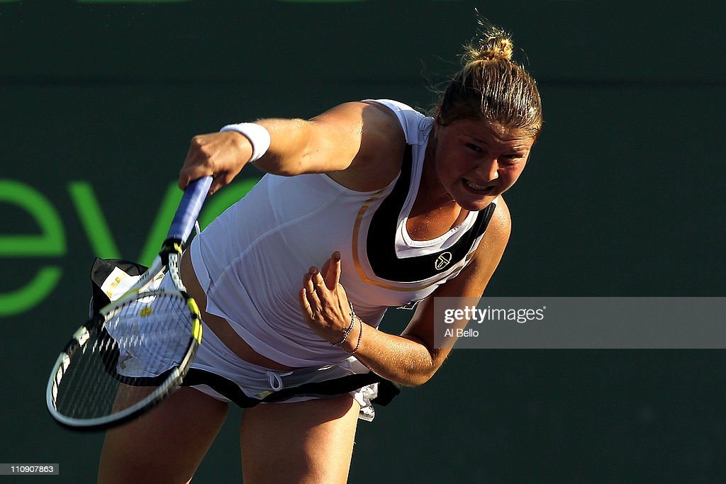 Dinara Safina of Russia serves against Vera Zvonareva of Russia during the Sony Ericsson Open at Crandon Park Tennis Center on March 25 2011 in Key...