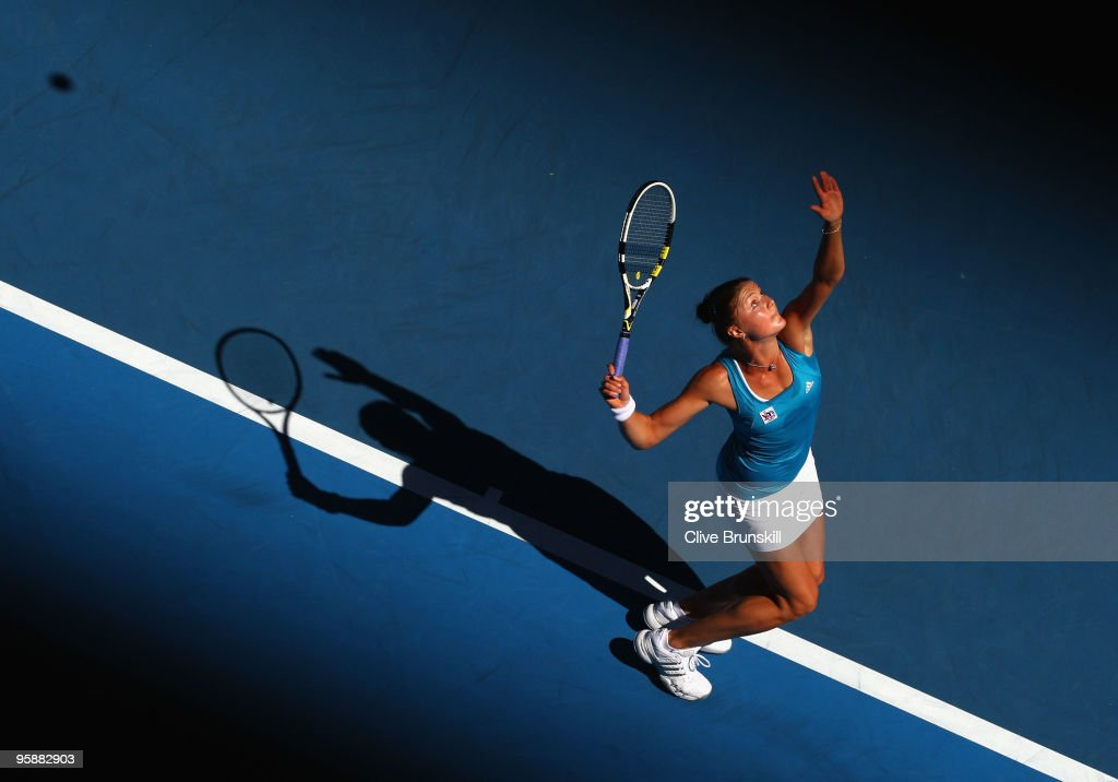 Dinara Safina of Russia serves in her second round match against Barbora Zahlavova Strycova of the Czech Republic during day three of the 2010...