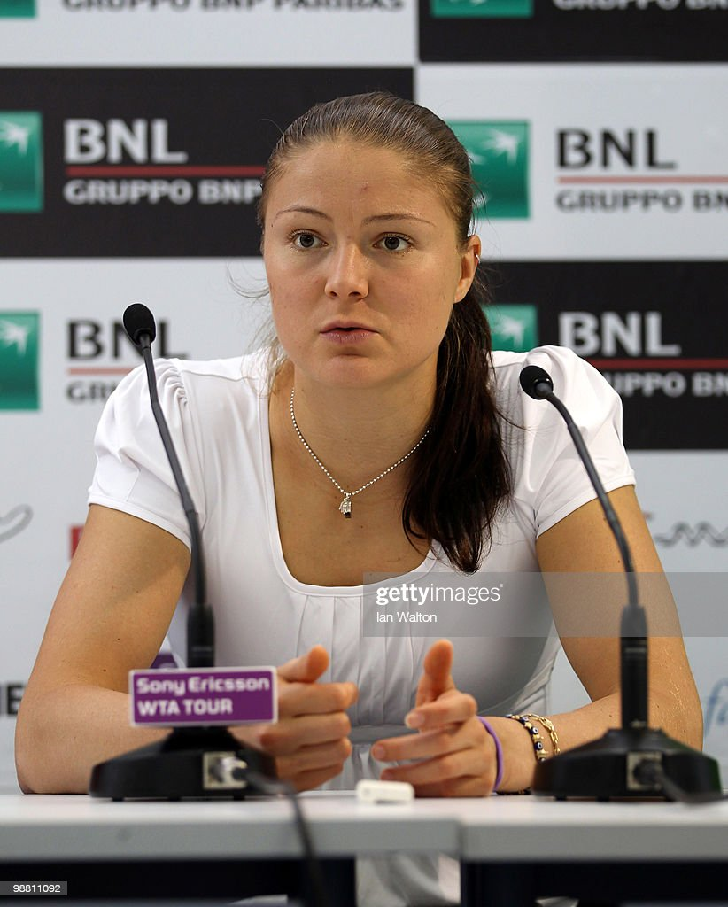 Dinara Safina of Russia speaks to the press during day one of the Sony Ericsson WTA Tour event at the Foro Italico Tennis Centre on May 3 2010 in...
