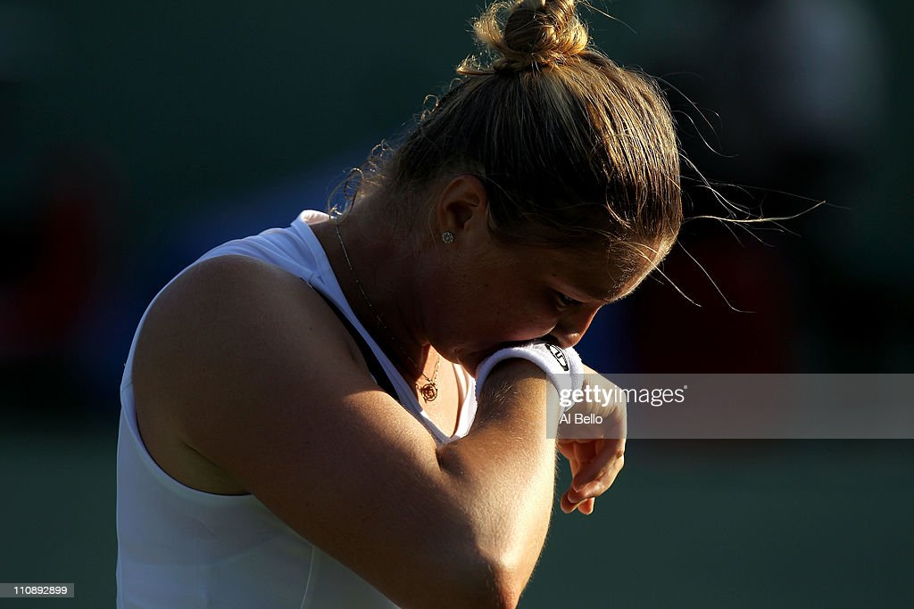 Dinara Safina of Russia wipes sweat off of her face against Vera Zvonareva of Russia during the Sony Ericsson Open at Crandon Park Tennis Center on...