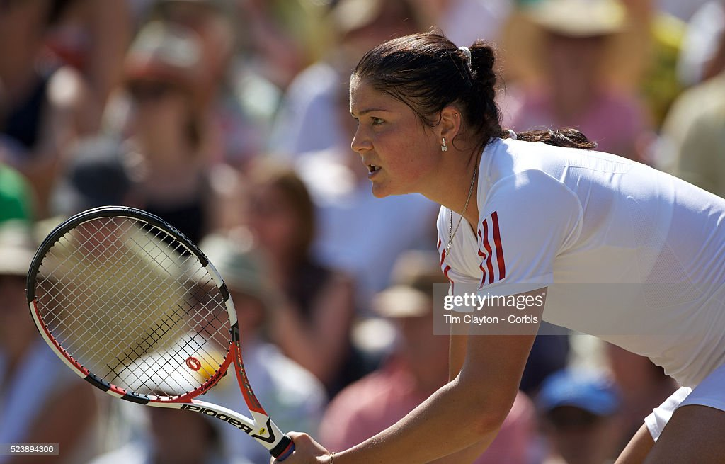 'Dinara Safina Russia in action during her Quarter Final victory over Sabine Lisicki Germany at the All England Lawn Tennis Championships at...