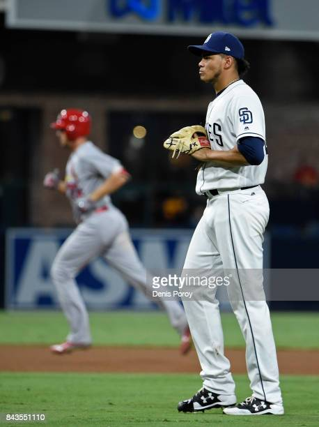 Dinelson Lamet of the San Diego Padres stands on the field after giving up a tworun home run to Stephen Piscotty of the St Louis Cardinals during the...