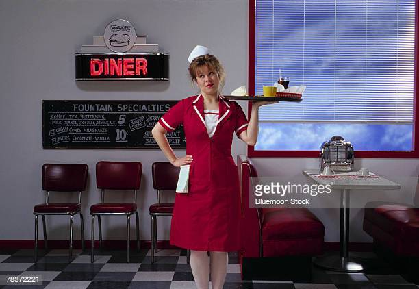 Diner waitress with food tray