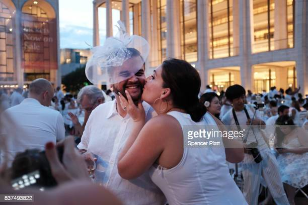 Diners participate in the annual 'Diner en Blanc' at Lincoln Center on August 22 2017 in New York City Diner en Blanc began in France nearly 30 years...