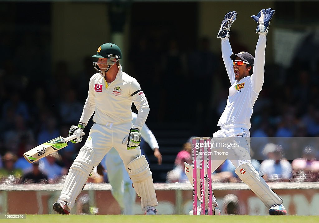 Dinesh Chandimal of Sri Lanka appeals during day four of the Third Test match between Australia and Sri Lanka at the Sydney Cricket Ground on January 6, 2013 in Sydney, Australia.