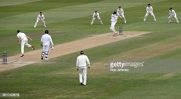 Dinesh Chandimal of Sri Lanka bats during day five of the First Test match between New Zealand and Sri Lanka at University Oval on December 14 2015...