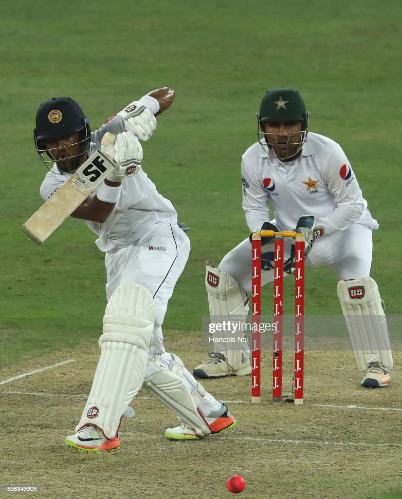 Dinesh Chandimal of Sri Lanka bats during Day One of the Second Test between Pakistan and Sri Lanka at Dubai International Cricket Ground on October 6, 2017 in Dubai, United Arab Emirates.