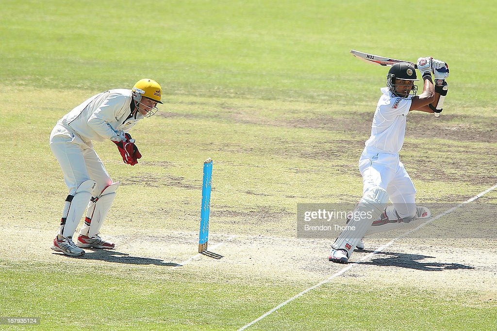 Dinesh Chandimal of Sri Lanka bats during day three of the international tour match between the Chairman's XI and Sri Lanka at Manuka Oval on December 8, 2012 in Canberra, Australia.