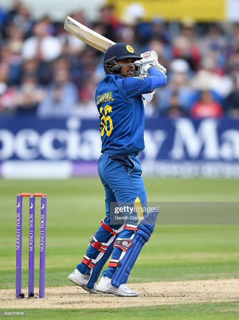 <a gi-track='captionPersonalityLinkClicked' href=/galleries/search?phrase=Dinesh+Chandimal&family=editorial&specificpeople=4884949 ng-click='$event.stopPropagation()'>Dinesh Chandimal</a> of Sri Lanka bats during the 3rd ODI Royal London One Day International match between England and Sri Lanka at The County Ground on June 26, 2016 in Bristol, England.