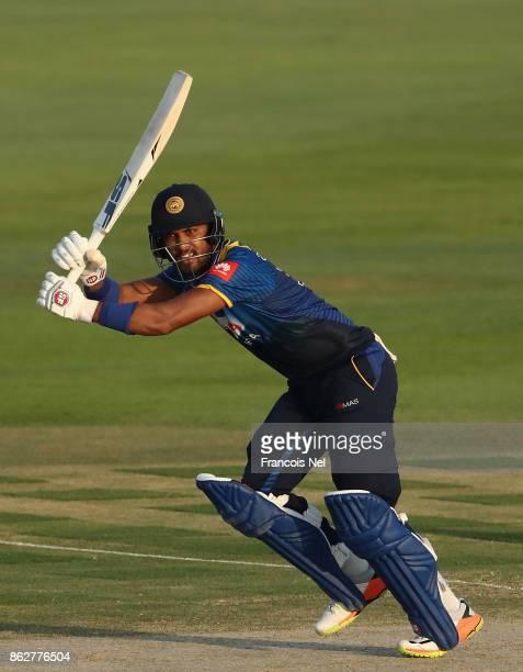 Dinesh Chandimal of Sri Lanka bats during the third One Day International match between Pakistan and Sri Lanka at Zayed Cricket Stadium on October 18...
