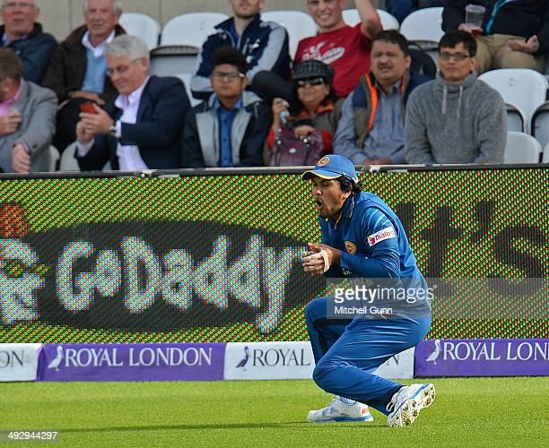 Dinesh Chandimal of Sri Lanka catches the ball to dismiss Gary Ballance of England during the England v Sri Lanka first one day international match...