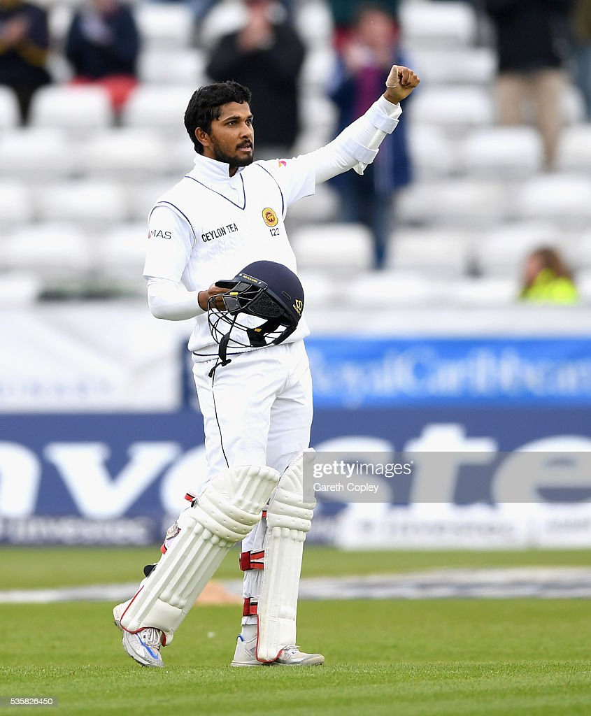 <a gi-track='captionPersonalityLinkClicked' href=/galleries/search?phrase=Dinesh+Chandimal&family=editorial&specificpeople=4884949 ng-click='$event.stopPropagation()'>Dinesh Chandimal</a> of Sri Lanka celebrates reaching his century during day four of the 2nd Investec Test match between England and Sri Lanka at Emirates Durham ICG on May 30, 2016 in Chester-le-Street, United Kingdom.