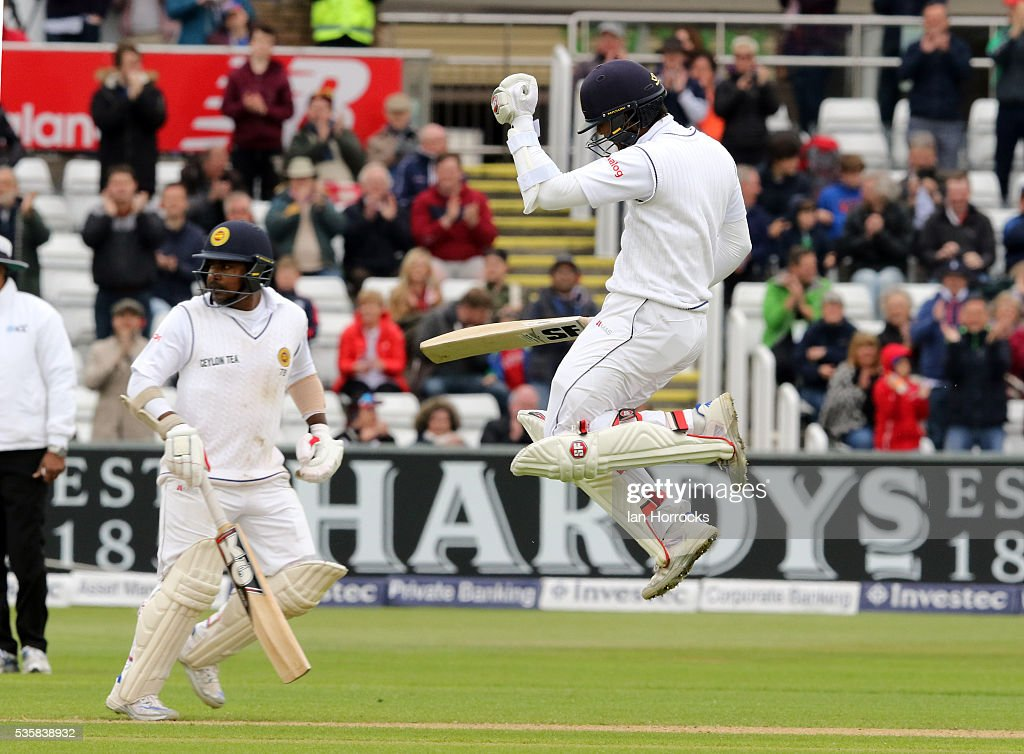 Dinesh Chandimal of Sri Lanka celebrates scoring 100 during day four of the 2nd Investec Test match between England and Sri Lanka at Emirates Durham ICG on May 30, 2016 in Chester-le-Street, United Kingdom.