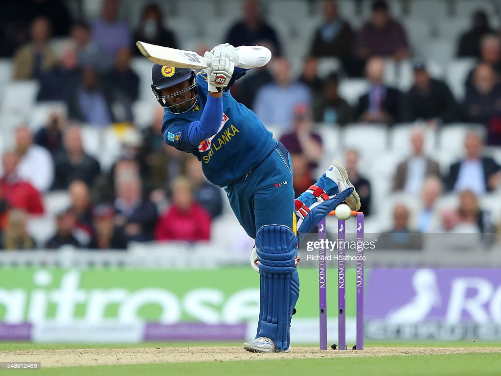<a gi-track='captionPersonalityLinkClicked' href=/galleries/search?phrase=Dinesh+Chandimal&family=editorial&specificpeople=4884949 ng-click='$event.stopPropagation()'>Dinesh Chandimal</a> of Sri Lanka drives the ball to the boundary during the 4th Royal London ODI between England and Sri Lanka at The Kia Oval on June 29, 2016 in London, England.