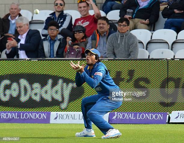 Dinesh Chandimal of Sri Lanka fielding during the England v Sri Lanka first one day international match at the Kia Oval Ground on May 22 2014 in...