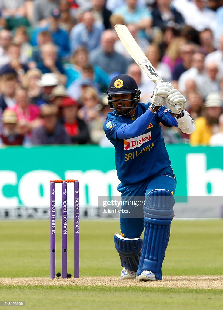 Dinesh Chandimal of Sri Lanka hits out during The 3rd ODI Royal London One-Day match between England and Sri Lanka at The County Ground on June 26, 2016 in Bristol, England.