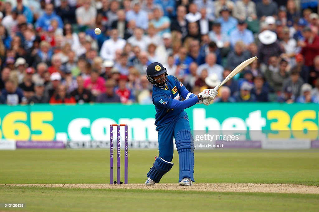 <a gi-track='captionPersonalityLinkClicked' href=/galleries/search?phrase=Dinesh+Chandimal&family=editorial&specificpeople=4884949 ng-click='$event.stopPropagation()'>Dinesh Chandimal</a> of Sri Lanka hits out during The 3rd ODI Royal London One-Day match between England and Sri Lanka at The County Ground on June 26, 2016 in Bristol, England.