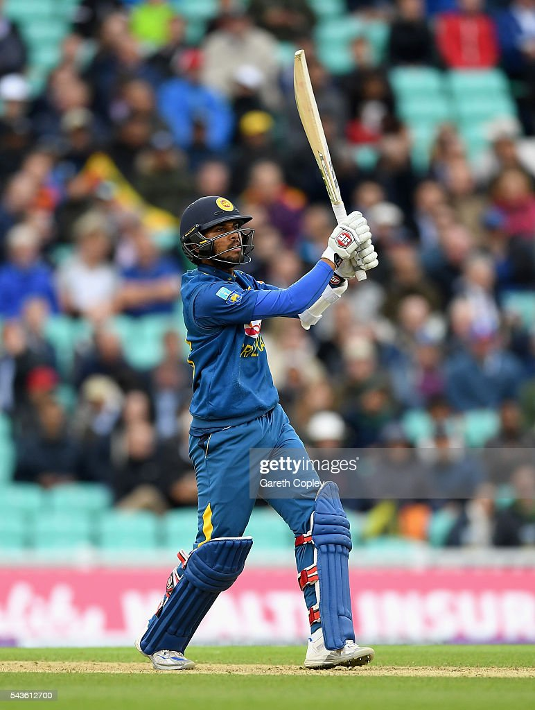 <a gi-track='captionPersonalityLinkClicked' href=/galleries/search?phrase=Dinesh+Chandimal&family=editorial&specificpeople=4884949 ng-click='$event.stopPropagation()'>Dinesh Chandimal</a> of Sri Lanka hits out for six runs during the 4th ODI Royal London One Day International match between England and Sri Lanka at The Kia Oval on June 29, 2016 in London, England.