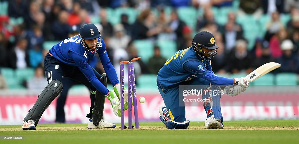 <a gi-track='captionPersonalityLinkClicked' href=/galleries/search?phrase=Dinesh+Chandimal&family=editorial&specificpeople=4884949 ng-click='$event.stopPropagation()'>Dinesh Chandimal</a> of Sri Lanka is bowled by David Willey of England during the 4th ODI Royal London One Day International match between England and Sri Lanka at The Kia Oval on June 29, 2016 in London, England.