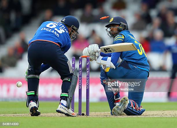 Dinesh Chandimal of Sri Lanka is bowled out by David Willey during the 4th Royal London ODI between England and Sri Lanka at The Kia Oval on June 29...