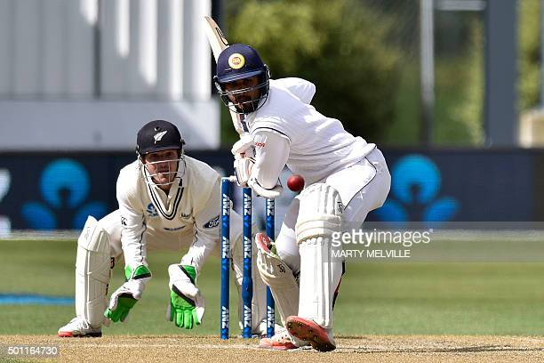Dinesh Chandimal of Sri Lanka play a shot during day four of the first International Test cricket match between New Zealand and Sri Lanka at...