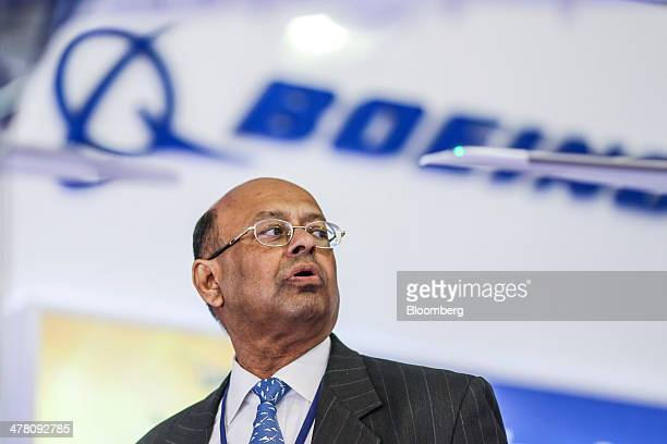 Dinesh Keskar senior vice president of sales in Asia Pacific India for Boeing Commercial Airplane Group speaks at the Boeing Co pavilion during the...