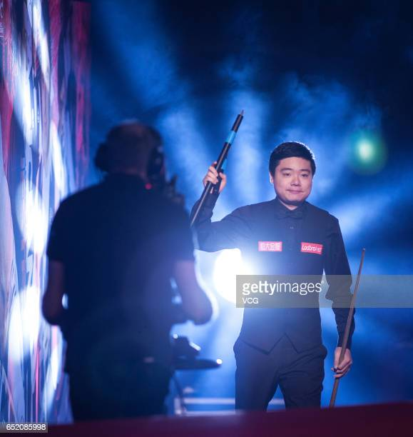 Ding Junhui of China arrives for the semifinal match against Anthony Hamilton of England on day five of 2017 Ladbrokes Players Championship at Venue...
