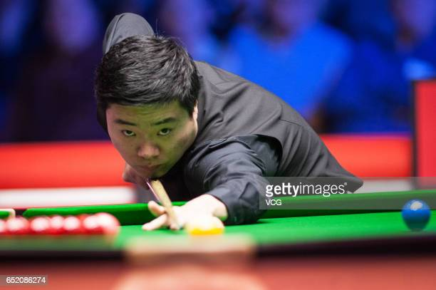 Ding Junhui of China plays a shot during the semifinal match against Anthony Hamilton of England on day five of 2017 Ladbrokes Players Championship...