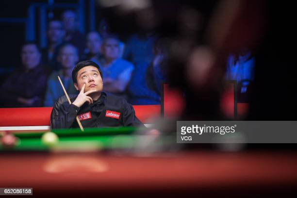 Ding Junhui of China reacts during the semifinal match against Anthony Hamilton of England on day five of 2017 Ladbrokes Players Championship at...