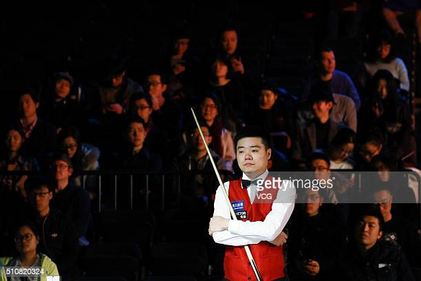 Ding Junhui of China reacts in the third round match against Matthew Selt of England on day three of BetVictor Welsh Open 2016 at Motorpoint Arena on...