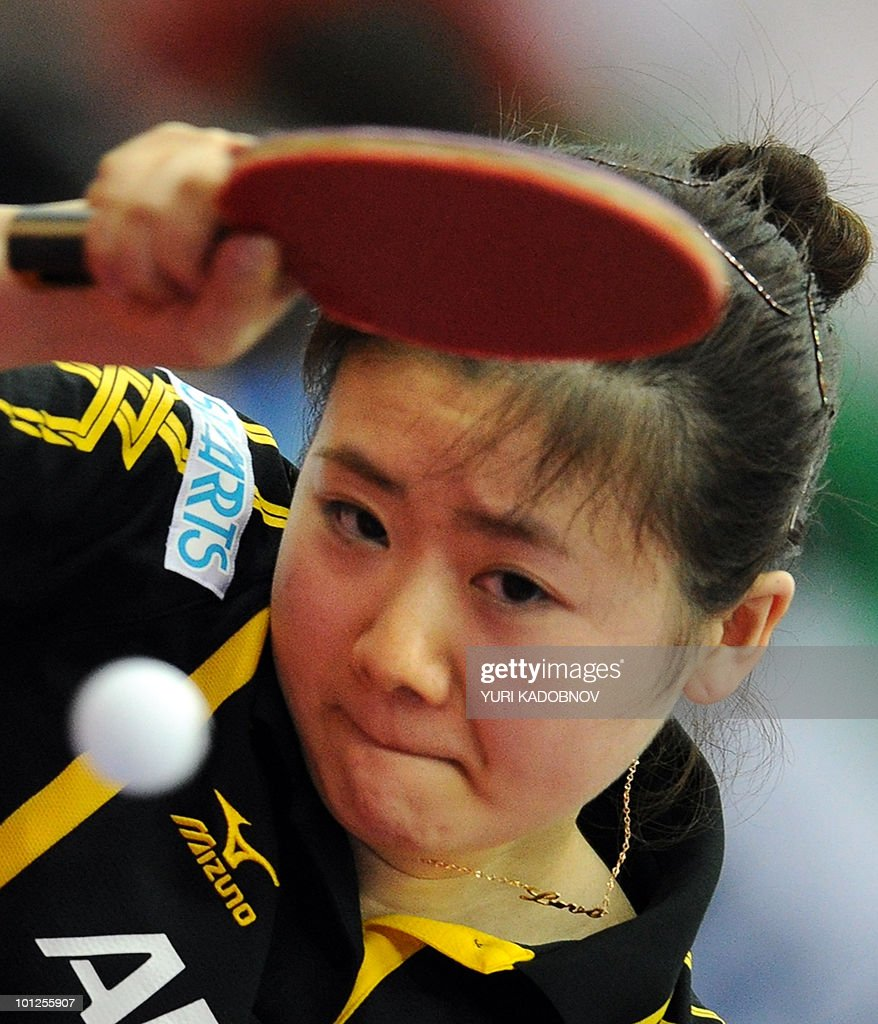 Ding Ning of China Ai Fukuhara of Japan returns a serve to Ding Ning of China during the women's semi final at the 2010 World Team Table Tennis Championships in Moscow on May 29, 2010.