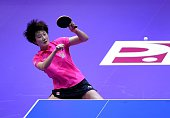 Ding Ning of China competes against Chen Szu Yu of Chinese Taipei during the 2016 World Table Tennis Championship Women's Team Division semifinal...
