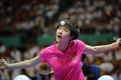 Ding Ning of China competes against Mima Ito of Japan during the 2016 World Table Tennis Championship Women's Team Division final match at Malawati...