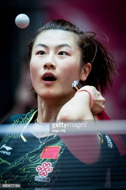 Ding Ning of China competes during Womens Single 2 Round at Table Tennis World Championship at Messe Duesseldorf on May 31 2017 in Dusseldorf Germany
