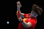 Ding Ning of China competes during Women's Team Table Tennis semifinal match against team of Korea on Day 10 of the London 2012 Olympic Games at...