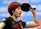 Ding Ning of China in action against Michelle Beaumont of Australia during the Women's Group 1 match on day one of the ITTF World Team Cup at the Al...
