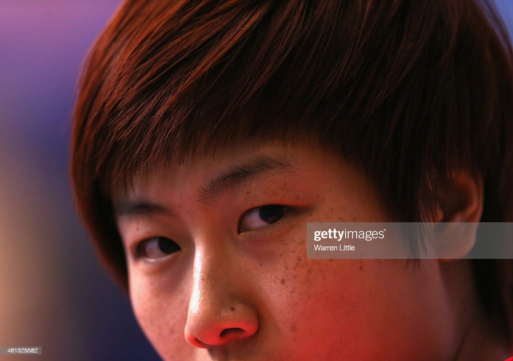 <a gi-track='captionPersonalityLinkClicked' href=/galleries/search?phrase=Ding+Ning&family=editorial&specificpeople=2161349 ng-click='$event.stopPropagation()'>Ding Ning</a> of China looks on during the Women's Finals of the 2015 ITTF World Team Cup at Al Nasr Sports Stadium on January 11, 2015 in Dubai, United Arab Emirates.