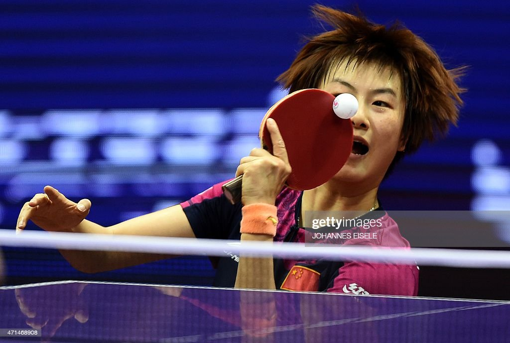 Ding Ning of China serves during her women's singles match against <a gi-track='captionPersonalityLinkClicked' href=/galleries/search?phrase=Natalia+Partyka&family=editorial&specificpeople=5489382 ng-click='$event.stopPropagation()'>Natalia Partyka</a> of Poland at the 2015 World Table Tennis Championships in Suzhou on April 29, 2015.