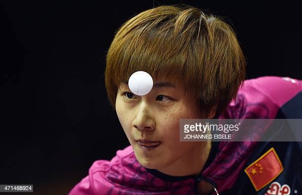 Ding Ning of China serves during her women's singles match against Natalia Partyka of Poland at the 2015 World Table Tennis Championships in Suzhou...
