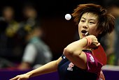 Ding Ning of Chinaserves during her women's singles match against Irene Ivancan of Germanyat the 2015 World Table Tennis Championships at the...