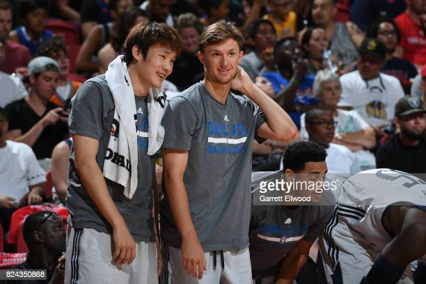 Ding Yangyuhang and Steven Spieth of the Dallas Mavericks during the game against the Phoenix Suns during the 2017 Summer League on July 9 2017 at...
