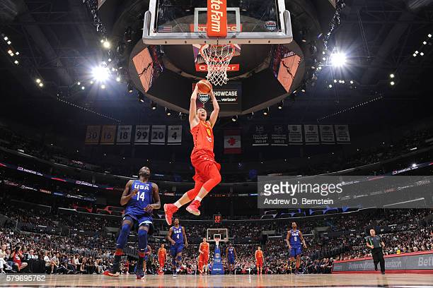 Ding Yanyuhang of China dunks against USA Basketball Men's National Team at the Staples Center in Los Angeles California NOTE TO USER User expressly...